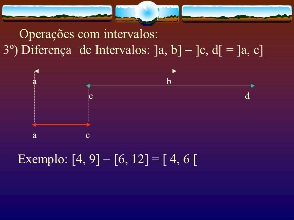 Operações com intervalos: 3º) Diferença de Intervalos: ]a, b]  ]c, d[ = ]a, c]